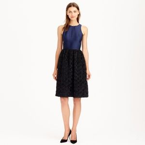 J. Crew Collection Navy and Black Rosette Dress